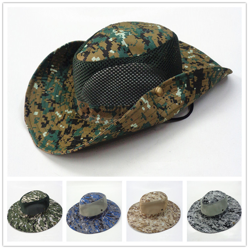 Camouflage Mesh Splice Fisherman Hat Military Army Tactical  Boonie Hats Hunting Cap Camo Hiking Round-brimmed Sunscreen