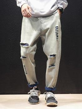 Mens Hole Jeans Plus Fertilizer Loose Straight Youth Trend Fat Japanese Retro Autumn Male Hip Hop Long Loose Denim Pants