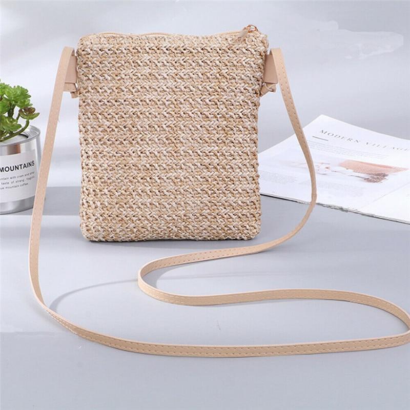 Fashion Women Ladies Straw Bag Rattan Woven Tote Purse New Crossbody Messenger Bag Plait Small Square Handbag Boho Beach Summer