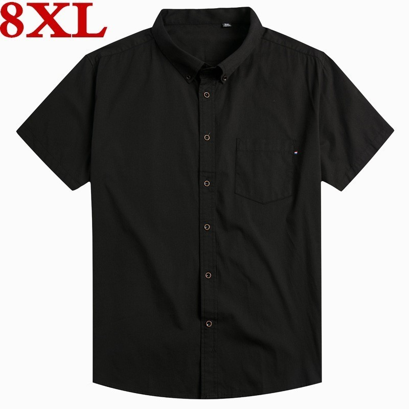 New Plus Size 8XL 7XL Men Cotton Shirts Brand Turn-down Collar  Men Chemise Homme Casual Summer Business Shirt Mens Short Sleeve