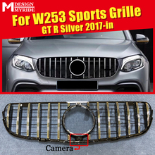 front grille suitable for glc class w253 gtr 2015 2018 x253 glc200 glc250 glc300 glc450 glc63 grille without central logo W253 Grille GT Grills GLC-Class Sport Front Grille With camera For MercedesMB GLC250 350 400 Silver Grills Without Sign 2017-19