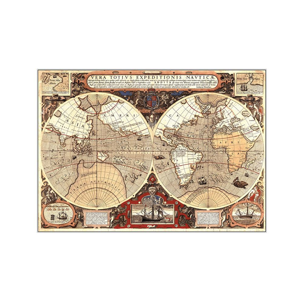 150x100cm Vintage World Map Matte Globe Old World Map Non-woven Brown Poster Wall Art Pictures Canvas Painting Home Wall Decor