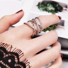 Корейское двойное кольцо с кристаллами Женское цвета розового