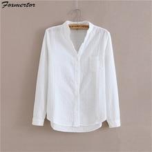 Foxmertor, хлопок, рубашка, высокое качество, женская блузка, осень, длинный рукав, одноцветные, белые рубашки, тонкие, женские, повседневные, женские Топы#05