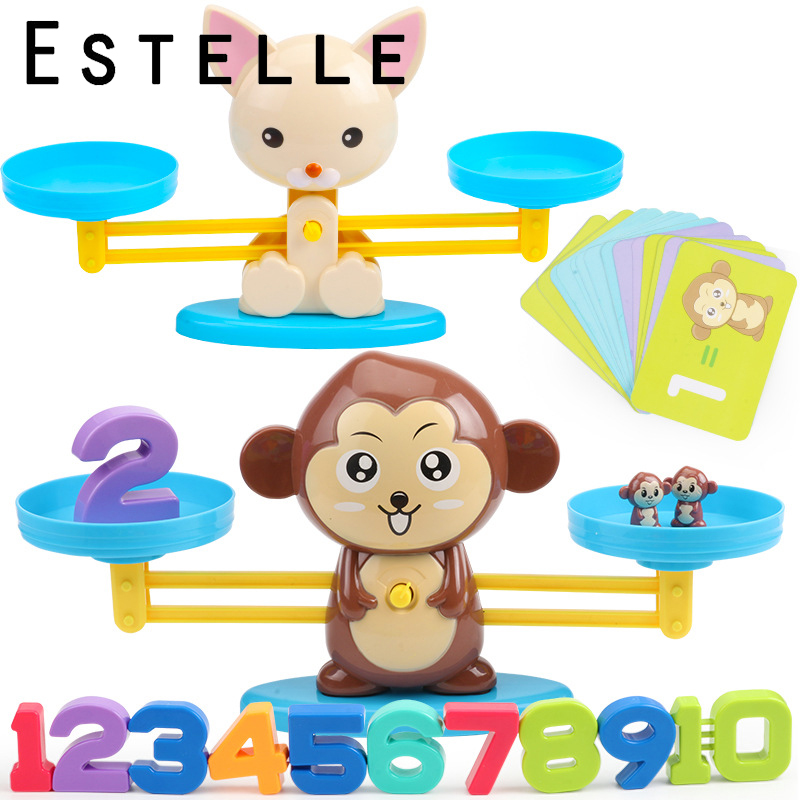 Math Match Game Board Toys Monkey Dog Match Balancing Scale Number Balance Game Kids Educational Toy To Learn Add And Subtract
