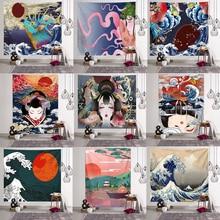 Japanese Kanagawa Waves Printed Hanging Tapestry Whale Arowana Deer Snake Totem Wall Hanging Tapestries Boho Bedspread Blanket