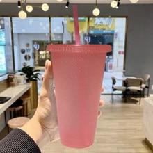 Creativa taza paja Brillo de lentejuelas taza de café pajita de zumo taza Simple lindo neto rojo fondo de plástico al aire libre portátil taza