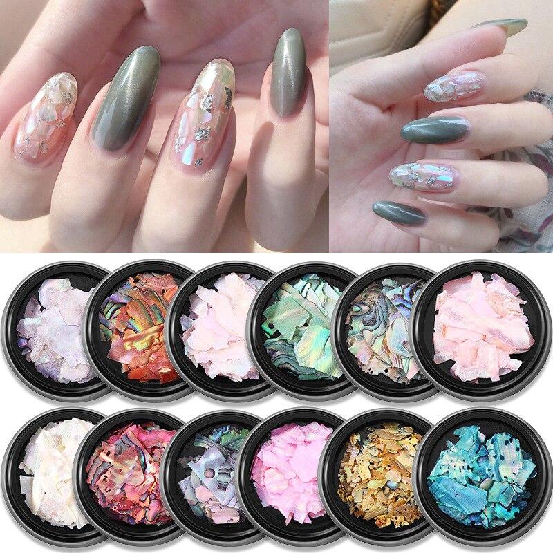 1 коробка, 3D неровная блестящая оболочка для ногтей, украшения для ногтей, слайдер для ногтей, перламутровое украшение для ногтей