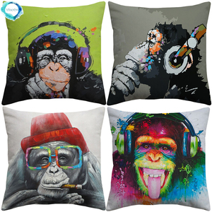 Animal gorille singe décoratif housse De coussin penser gorille peinture Art coton lin taie d'oreiller 45X45CM Fundas De Cojin