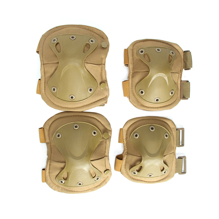 2019 New Army Tactical Paintball Airgun Hunting Sport Military Protection Knee Pad And Elbow Pad Set Camouflage Brown
