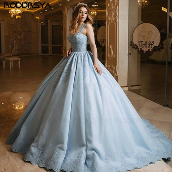 Sky Blue Ball Gown Prom Dress 2020 Sweetheart Strap Lace Applique Backless Saudi Arabia Style Sweep Train Evening Gown Plus Size halter backless applique beaded homecoming dress illusion lace up sleeveless cocktail dress short blue a line graduation gown