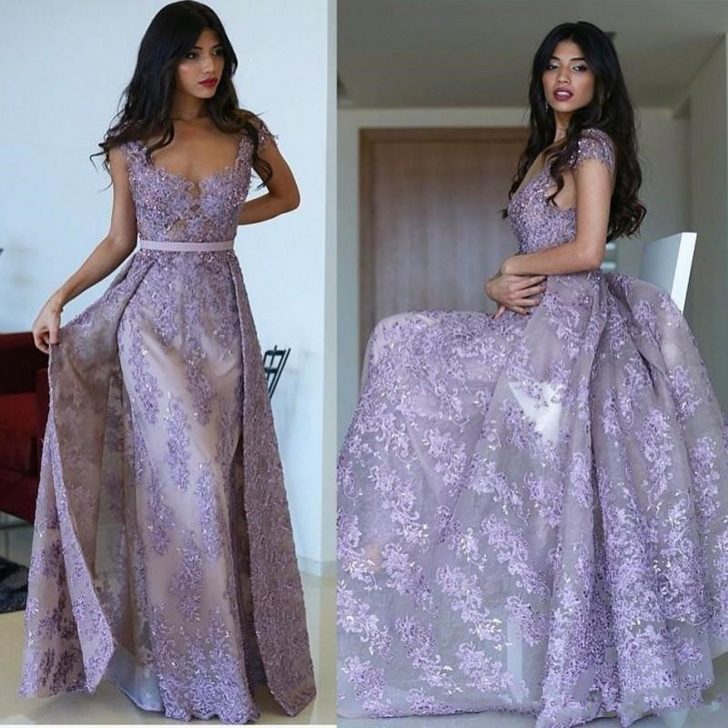 Mermaid Evening Dresses 2020 Lavender Lace Appliqued Beaded Prom Dress gown Custom Made Sheath Formal Special Occasion Dress