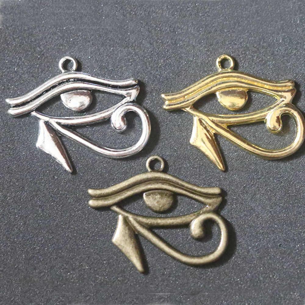 Mesir Mesir Cross Mata Jahat Hiasan Liontin untuk Membuat Perhiasan Anting-Anting Kalung Gelang Gantungan Kunci DIY Vintage Accesorios 12Pc