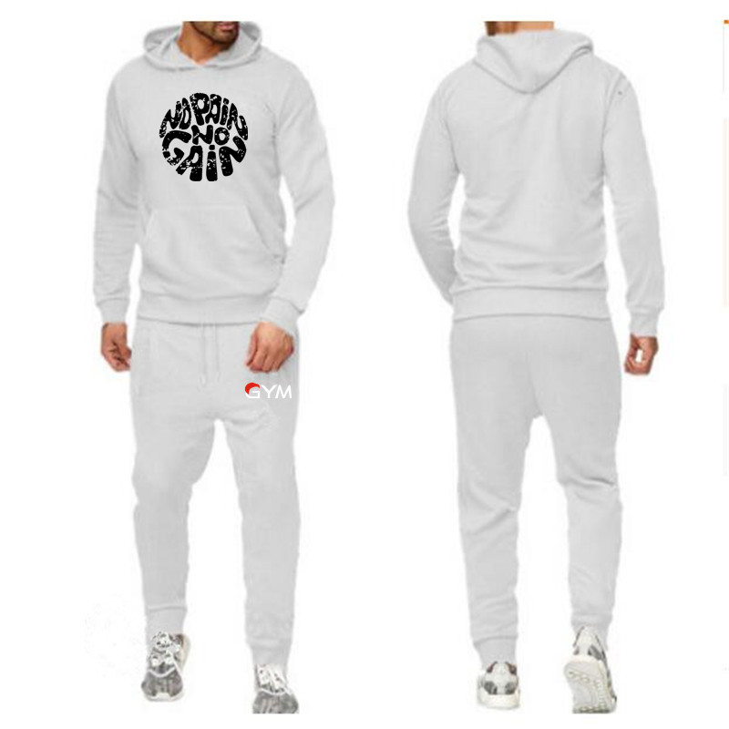 2019 Casual Hoodie Mens Tracksuit Fashion   Sportswear Two Piece Sets All Cotton Fleece Thick Hoodie+Pants Sporting Suit