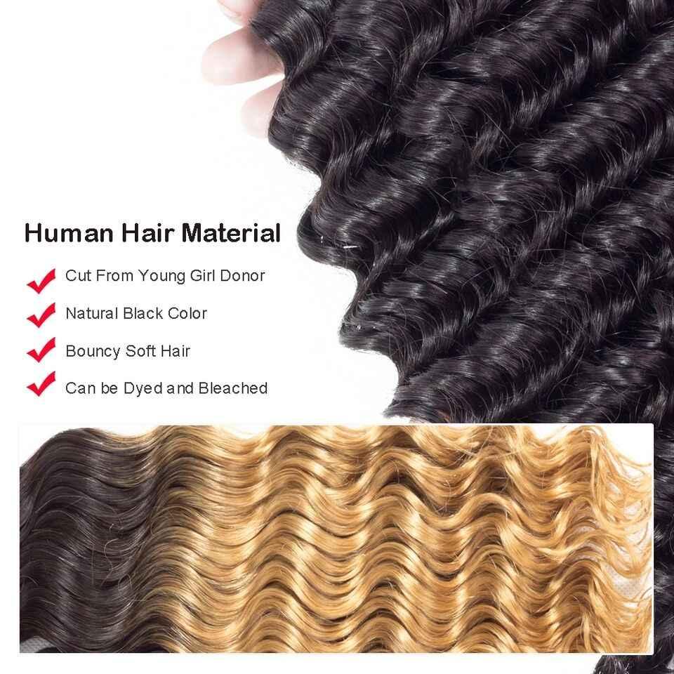 Allrun Diepe Golf Bundels met Frontale Sluiting Brazilian Hair Weave Bundels Niet-Remy Human Hair Bundels met Sluiting Lage verhouding