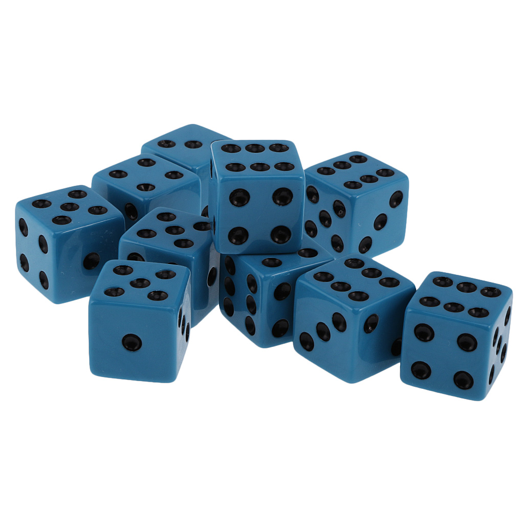 20x Six Sided D6 Dice 18mm Black Spotted For Gambling Lovers Amusement Props