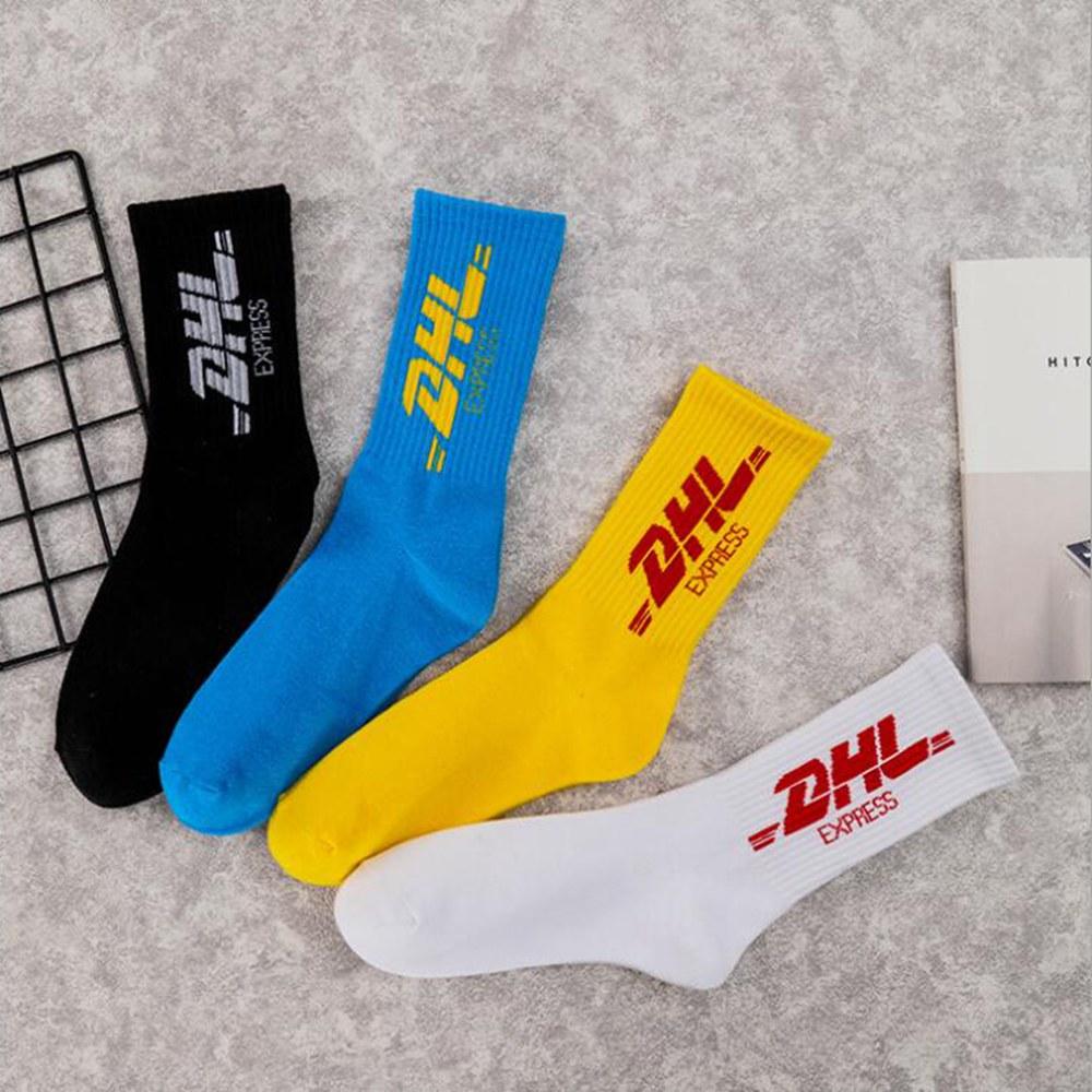 1 Pair Of Female Male Tide Street Occident Tide Socks In The Tube College Wind Letters Cotton Dhl Skateboarding Socks