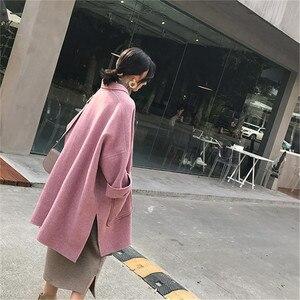 Image 5 - 2019 nouveau automne et hiver laine veste femmes en vrac coréen cachemire manteau mi long laine manteau femme NS1449