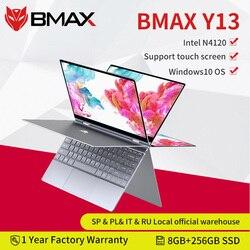 Computador portátil de bmax y13 360 ° 13.3 polegadas notebook windows 10 8gb lpddr4 256gb ssd 1920*1080 ips intel n4120 portáteis da tela de toque