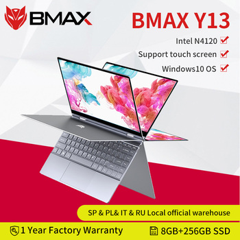 BMAX Y13 360° Laptop 13.3 inch Notebook Windows 10  8GB LPDDR4 256GB SSD 1920*1080 IPS Intel N4120 touch screen laptops
