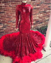 Red Mermaid Long Prom Dress 2020 Real Pictures Sparkly Sequin Feathers African Black Girl Long Sleeve Prom Dresses