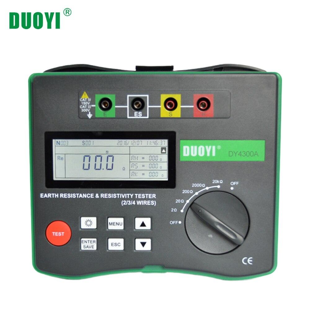 Duoyi DY4300A 4 極接地抵抗と土壌抵抗テスターデジタル液晶 0 20KΩ シリーズ干渉電圧周波数テスター抵抗値メーター   -