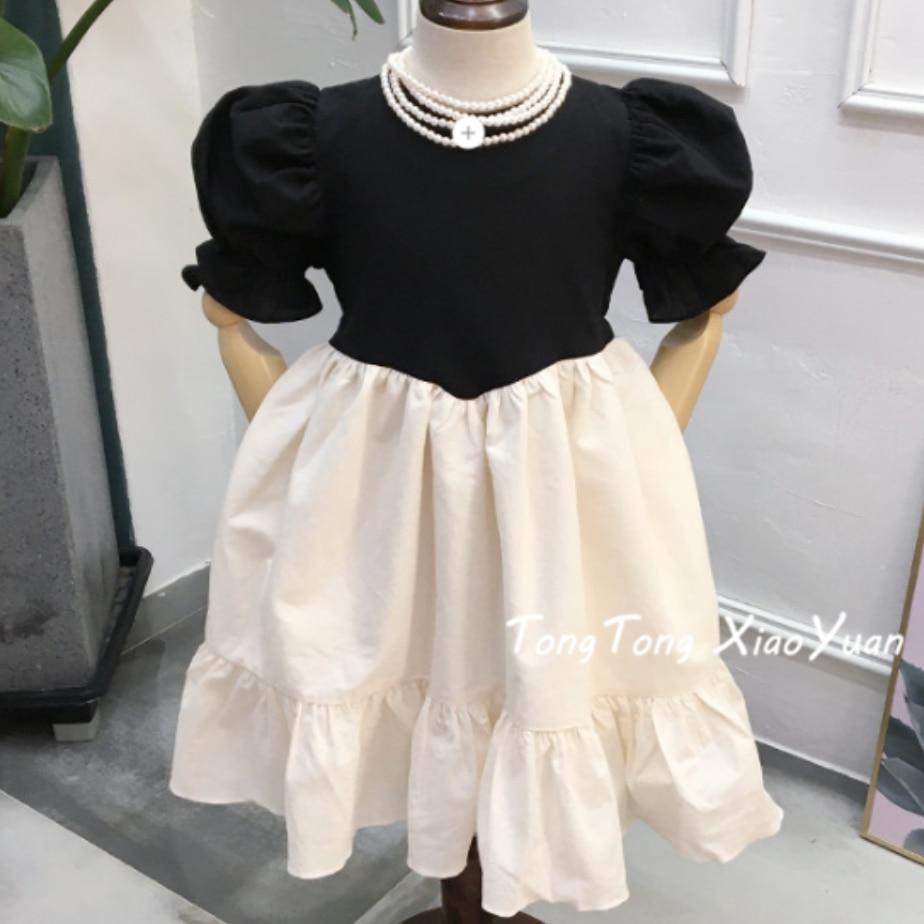 2020 Summer Vintage Puff Sleeve Baby Girl Dress Cotton Kids Children Stitching Princess Dress