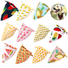 1 Pcs Dog Bandana Fruit Print Pet Dog Scarf Adjustable Size Dog Cat Bow Tie Pet Grooming Accessories Personalized Dog Bandana недорого
