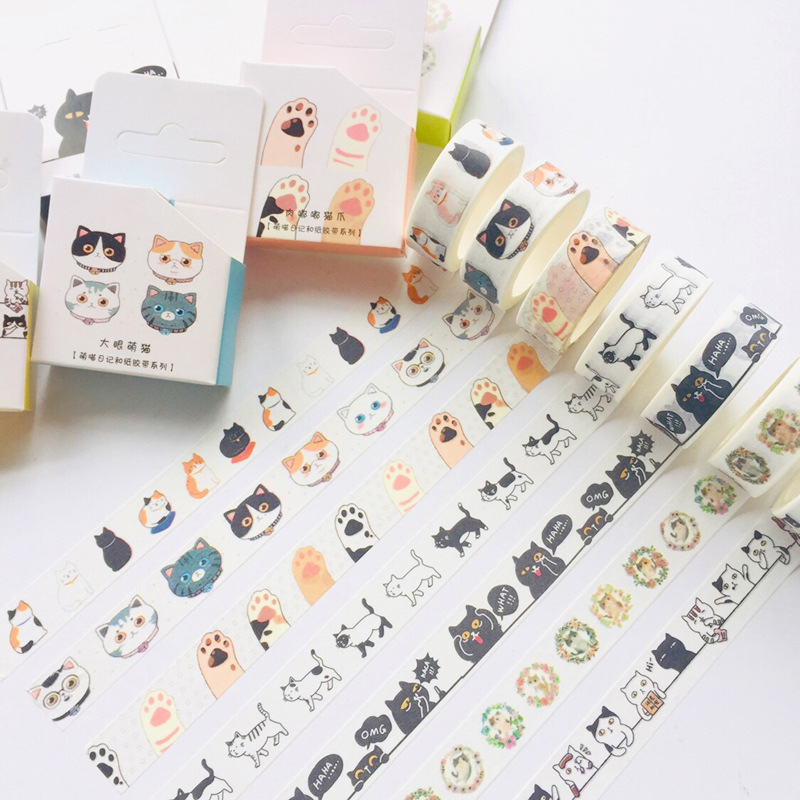15mm*5m Cute Black And White Cat Claw Bullet Journal Washi Tape Adhesive Tape DIY Scrapbooking Sticker Label Masking Tape