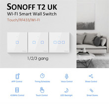 New Sonoff T2 UK Smart WiFi RF433 /ewelink app / Touch Control Wall Light Switch 1 /2 /3 Gang, Upgrade from Sonoff T1,for Alexa
