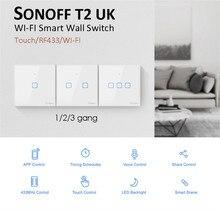 New Sonoff T2 UK สมาร์ท WiFi RF433/ewelink APP/การควบคุมระบบสัมผัสสวิตช์ไฟผนัง 1/2/ 3, อัพเกรดจาก Sonoff T1 สำหรับ Alexa