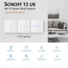 Novo sonoff t2 reino unido inteligente wifi rf433/ewelink app/interruptor de luz de parede de controle de toque 1/2/3 gang, atualização de sonoff t1, para alexa
