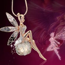 Elegant Charm Crystal Angel Wing Pendant Necklace Vintage Sweater Long Chain Butterfly Fairy Dangle Necklace Jewelry for Women