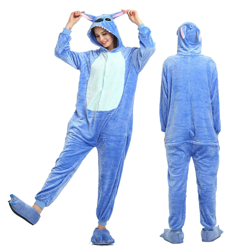 Winter Women Men Unisex Adult Cute Cartoon Onesie Animal Pajamas Stitch Unicornio Unicorn Kigurumi Flannel Nightie Sleepwear