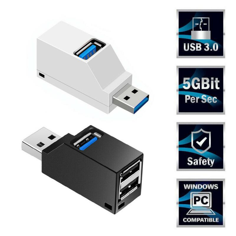 Концентратор USB 2,0 с 3 портами, портативный USB-концентратор 480 Мбит/с, высокоскоростной тонкий концентратор, USB-разветвитель, черный для ноутбу...