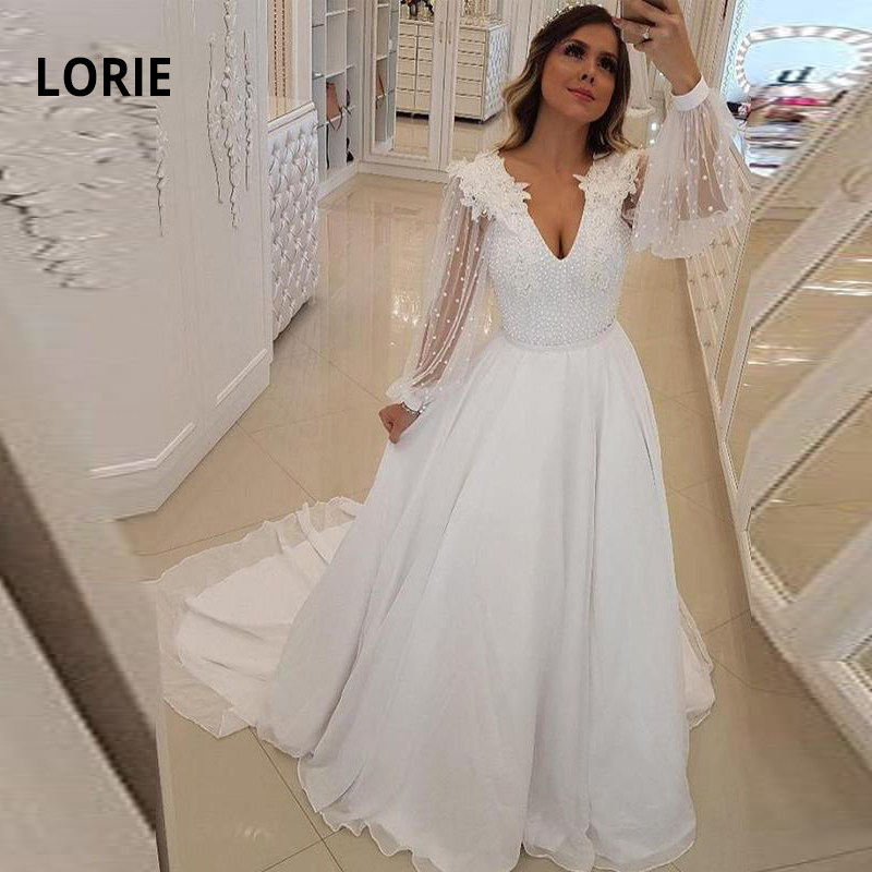 LORIE Long Sleeve Wedding Dress Boho Lace Appliqued With Beading  Skirt Chiffon A-line Beach Bridal Gowns Princess Party Dress