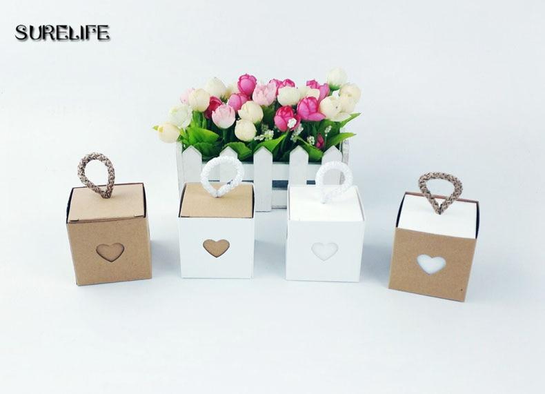 50pcs coeur Kraft papier dragée bonbons boîte-cadeau emballage boîte en carton de mariage Cookie chocolat boîte sacs-cadeaux emballage fournitures