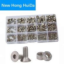 Máquina de soquete hexagonal, m2 m3 m4 m5 m6 conjunto de rosca plana com parafuso hexagonal escareado e jogo de sortimento 304 aço inoxidável,