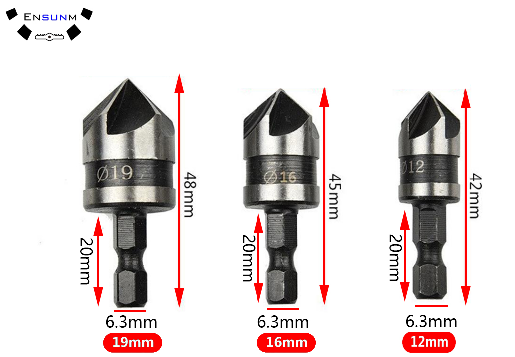 Wholesales 3Pcs 90 Degree Hex Shank Countersink Drill Bit 5 Flute 12-19mm Woodworking Counter Sink Chamfering Debur Tool Sets