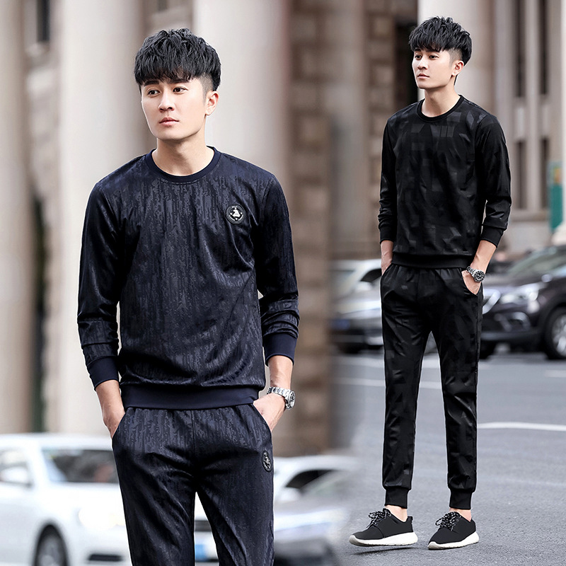 2018 Autumn New Style MEN'S Sweater Trousers Set Teenager Casual Running Sports Set Students Two-Piece Set