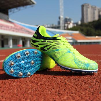 Buty lekkoatletyczne lekkie buty do biegania męskie kolce trampki Unisex Racing Grip buty sportowe wygodne męskie buty wyścigowe tanie i dobre opinie LUONTNOR Bezpłatne elastyczne Lace-up Cotton Fabric Buty utwór i pola Skórzane Pcv podłogi Średnie (b m) Zaawansowane