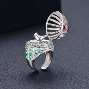 Image 5 - Dazz Brand Open Ring Creative Fantasy Bird Cage Round House Ring Full Zircon Color Dubai Womens Men Fun Luxury Accessories 2019