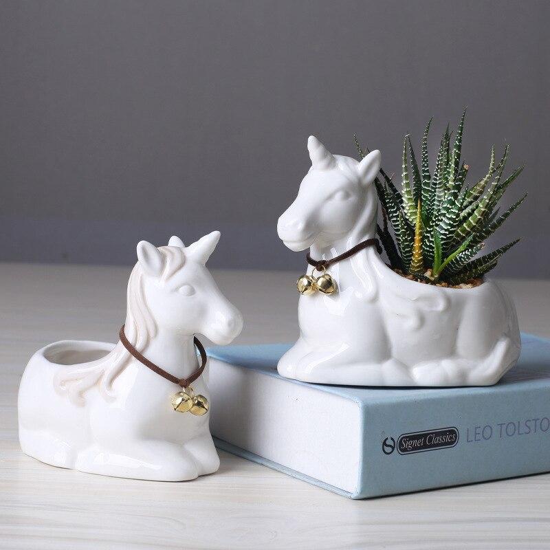 Cute Flower Pot Succulent Pot Planter Bonsai Desktop Ornaments Home Office Garden Decoration Ceramic Art Vase Plant Pot
