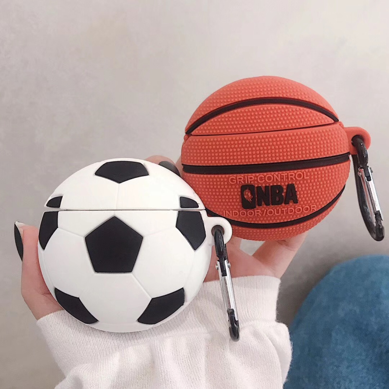 3D Basketball Football Headphone Cover For Apple AirPods Headset Protective Shell Air Pods Silicone Case With Hanging Loop