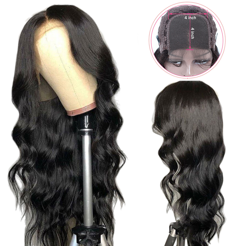 Brazilian Body Wave 4*4 Lace Closure Wig Human Hair Wigs For Women Remy Hair Wig With Baby Hair Natural Hairline