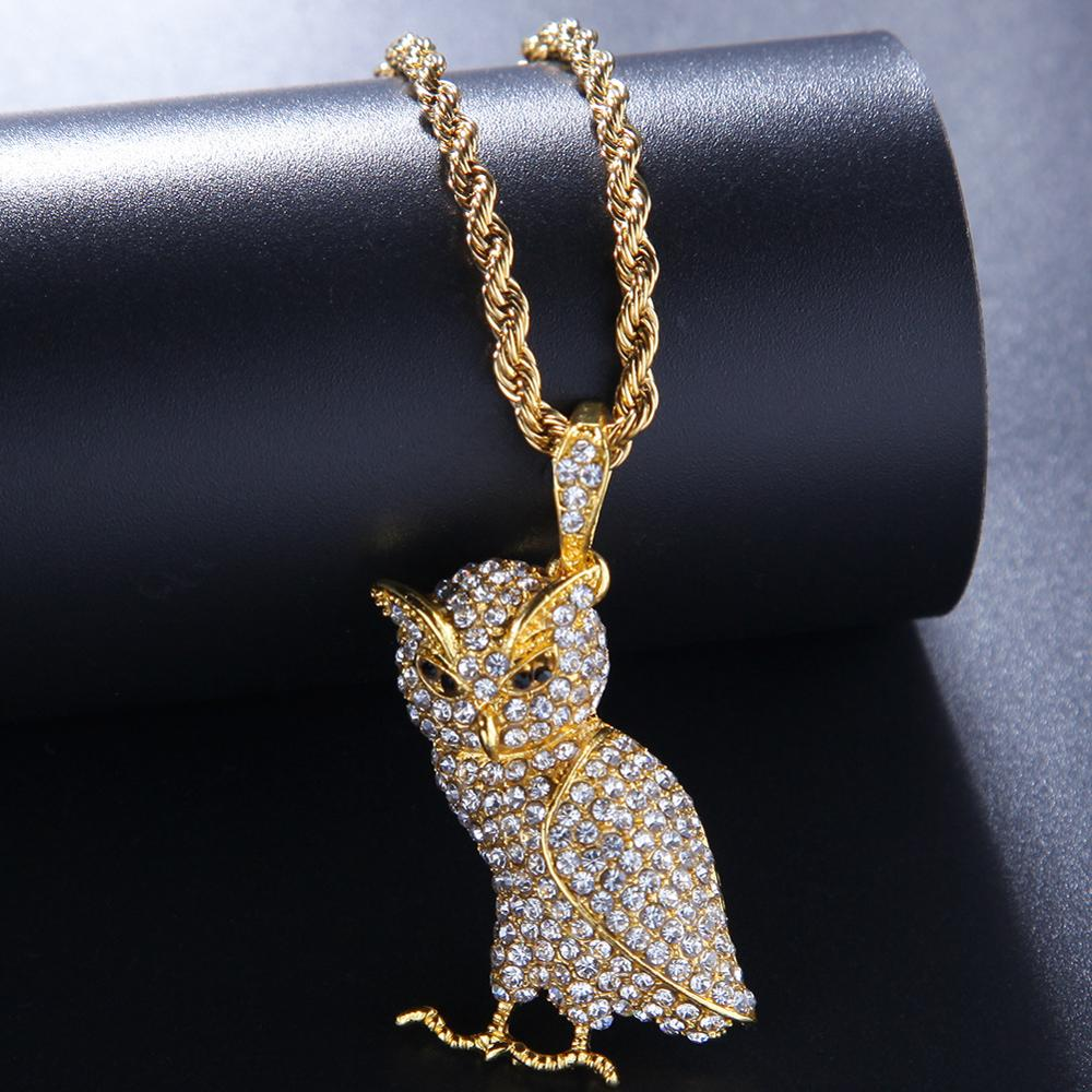 Iced Out Animal Owl Pendant Full Rhinestones Bling Necklace Gold Silver Color Hip Hop Rapper Jewelry for Women Mens Necklaces