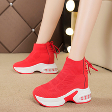 Female Socks Sports Shoes Slip on Sneakers Women Casual Wedg