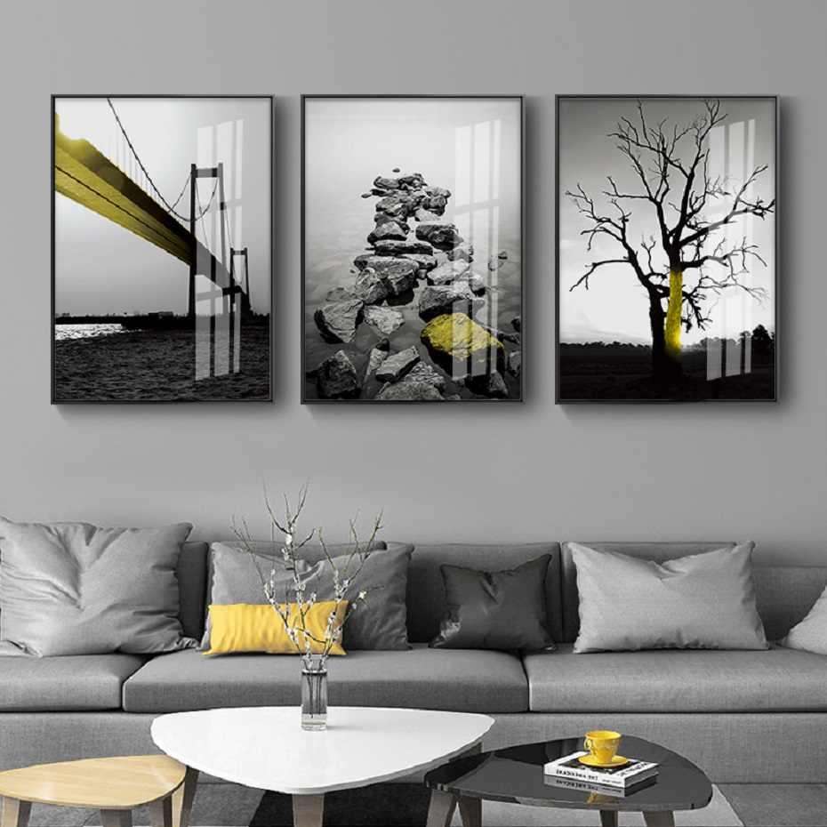 黄色ブリッジ石ツリーブラックホワイトポスターやプリント風景ウォールアートキャンバス絵画の写真リビングルームの装飾