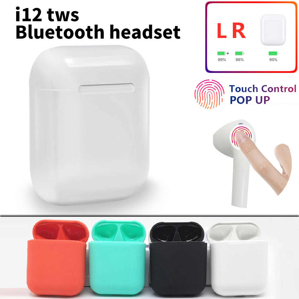 i12 TWS Bluetooth Earbuds Wireless Earpiece Mini Bluetooth 5.0 Stereo Earbuds Handsfree Sport Earpieces for Phone With Mic