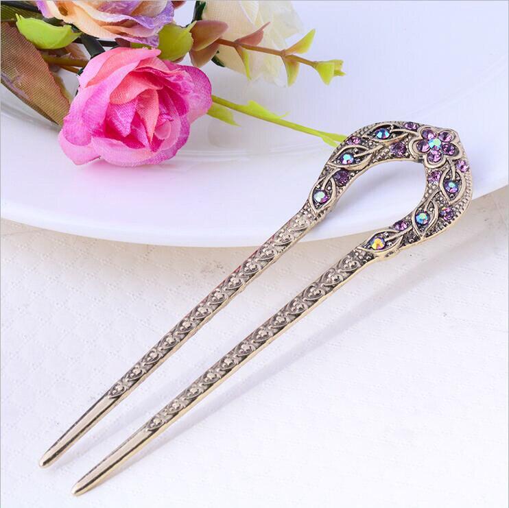 Vintage Hair Accessories Antique Bronze Plated Hairpins U shape Hair Stick Pin Women Rhinestone Flower Hair Jewelry 6